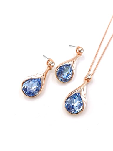 rose gold+blue stone Trend Water Drop Zinc Alloy Glass Stone Blue Enamel Earring and Necklace Set