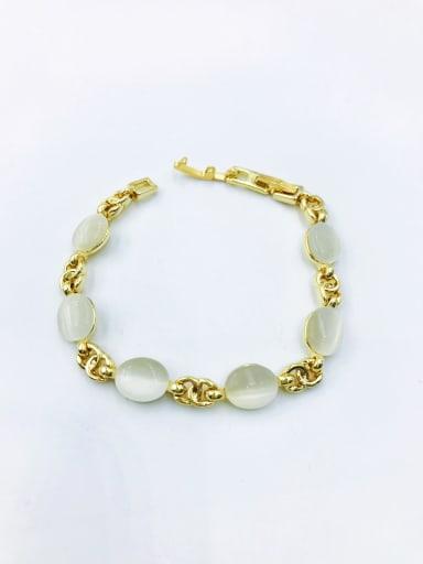 Gold Zinc Alloy Cats Eye White Oval Minimalist Bracelet