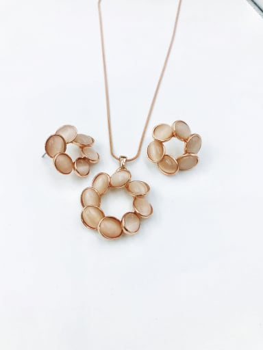 Statement Geometric Zinc Alloy Cats Eye White Earring and Necklace Set
