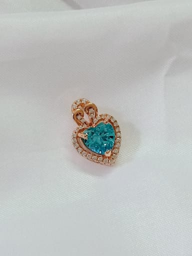 Heart 925 Sterling Silver Cubic Zirconia Blue Dainty Pendant