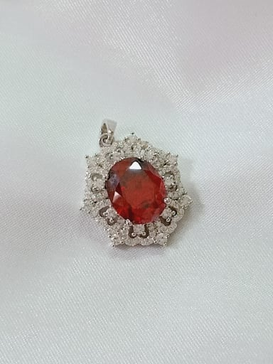 Rhodium and red Geometric 925 Sterling Silver Cubic Zirconia Purple Dainty Pendant