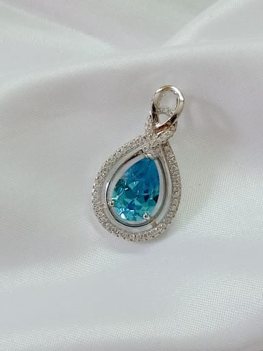Water Drop 925 Sterling Silver Cubic Zirconia Blue Dainty Pendant