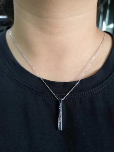 925 Sterling Silver Rectangle Minimalist Link Necklace