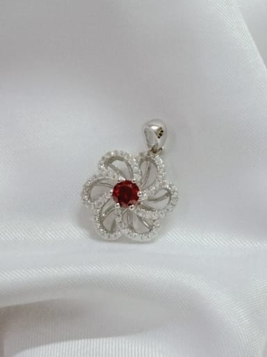 White Flower 925 Sterling Silver Cubic Zirconia Red Dainty Pendant