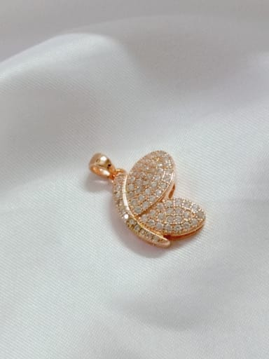 Rose Wing 925 Sterling Silver Cubic Zirconia White Dainty Pendant