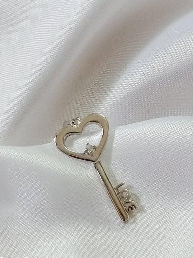 Key 925 Sterling Silver Cubic Zirconia White Minimalist Pendant