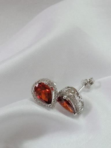 925 Sterling Silver Cubic Zirconia Red Water Drop Dainty Huggie Earring
