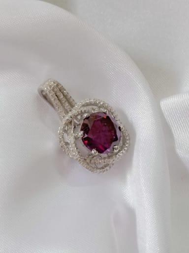 Flower 925 Sterling Silver Cubic Zirconia Purple Dainty Pendant