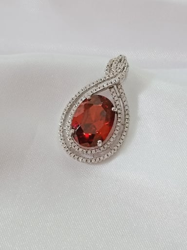 rhodium and red Oval 925 Sterling Silver Cubic Zirconia Purple Dainty Pendant