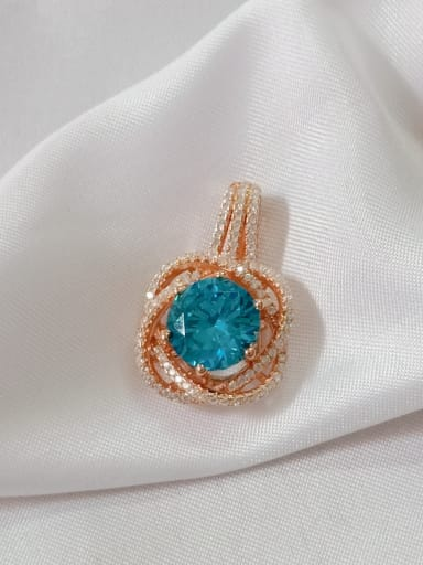 Rose gold and blue Flower 925 Sterling Silver Cubic Zirconia Purple Dainty Pendant