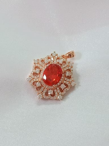 Rose gold and red Geometric 925 Sterling Silver Cubic Zirconia Purple Dainty Pendant