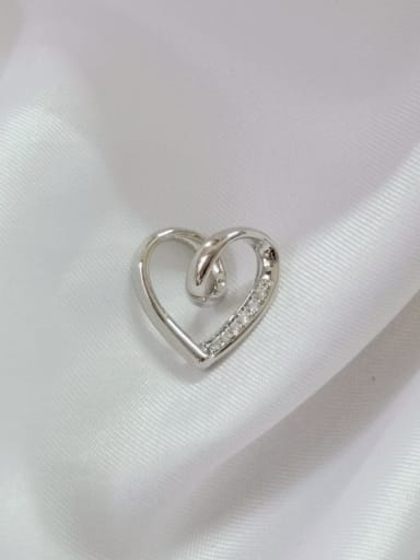 Heart Copper Cubic Zirconia White Dainty Pendant