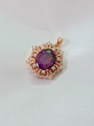Color Geometric 925 Sterling Silver Cubic Zirconia Purple Dainty Pendant