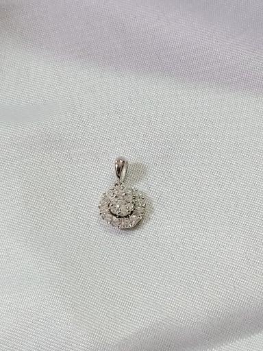 Round 925 Sterling Silver Cubic Zirconia White Minimalist Pendant