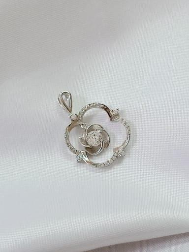 Flower 925 Sterling Silver Cubic Zirconia White Minimalist Pendant