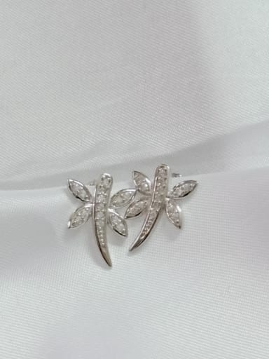 925 Sterling Silver Cubic Zirconia White Dragonfly Minimalist Huggie Earring