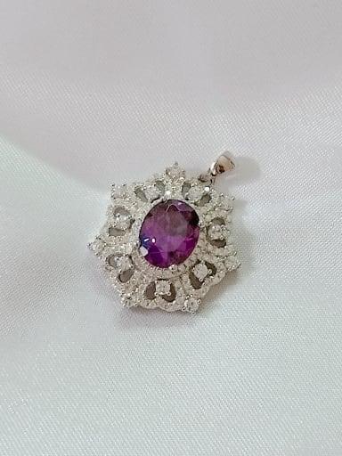 Geometric 925 Sterling Silver Cubic Zirconia Purple Dainty Pendant