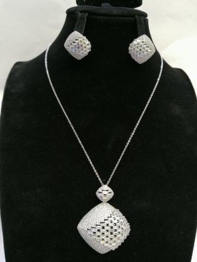 GODKI Luxury Women Wedding Dubai Copper With White Gold Plated Fashion Square 2 Piece Jewelry Set