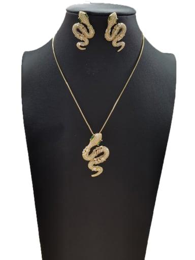 GODKI Luxury Women Wedding Dubai Copper With Gold Plated Trendy Animal 2 Piece Jewelry Set
