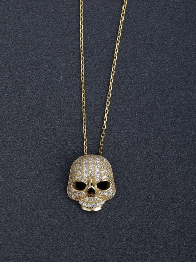 custom Micro inlay Zircon bling bling Skull 925 Silver Necklaces