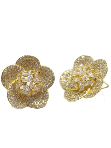 Copper With Gold Plated Fashion Flower Earrings