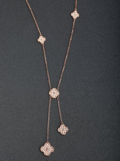 custom Micro inlay Zircon Lucky Clover 925 Silver Necklaces