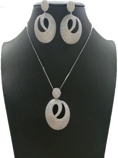 GODKI Luxury Women Wedding Dubai Copper With White Gold Plated Fashion Oval 2 Piece Jewelry Set