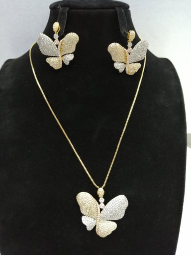 GODKI Luxury Women Wedding Dubai Copper With MIX Plated Fashion Butterfly 2 Piece Jewelry Set