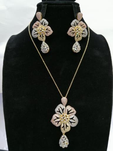GODKI Luxury Women Wedding Dubai Copper With MIX Plated Trendy Flower 2 Piece Jewelry Set