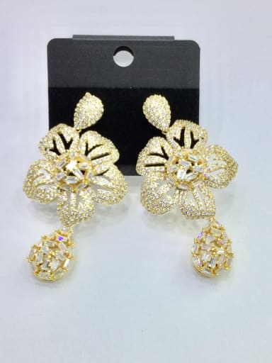 Copper With Gold Plated Trendy Flower Chandelier Earrings