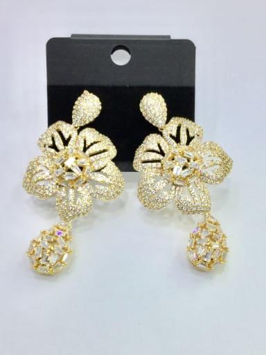 GODKI Luxury Women Wedding Dubai Copper With Gold Plated Trendy Flower Chandelier Earrings