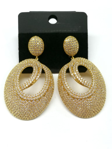 Copper With Gold Plated Fashion Oval Earrings
