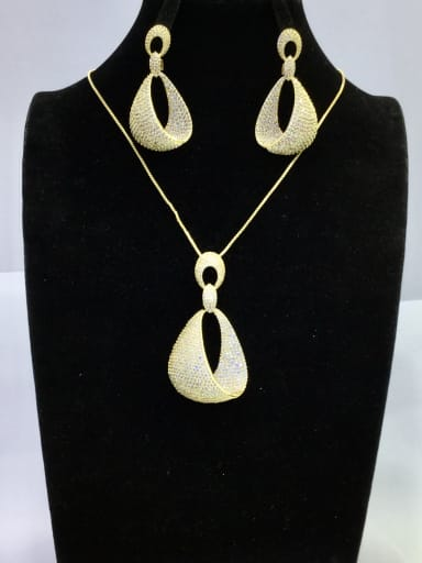GODKI Luxury Women Wedding Dubai Copper With Gold Plated Fashion Irregular 2 Piece Jewelry Set