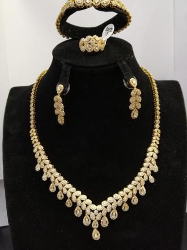 GODKI Luxury Women Wedding Dubai Copper With Gold Plated Fashion Water Drop 4 Piece Jewelry Set