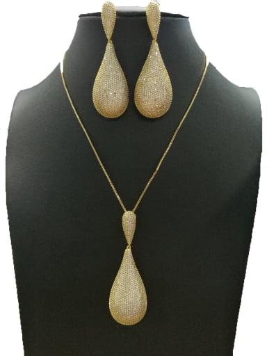 GODKI Luxury Women Wedding Dubai Copper With Gold Plated Fashion Water Drop 2 Piece Jewelry Set