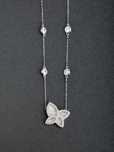 custom Micro inlay Zircon butterfly 925 Silver Necklaces