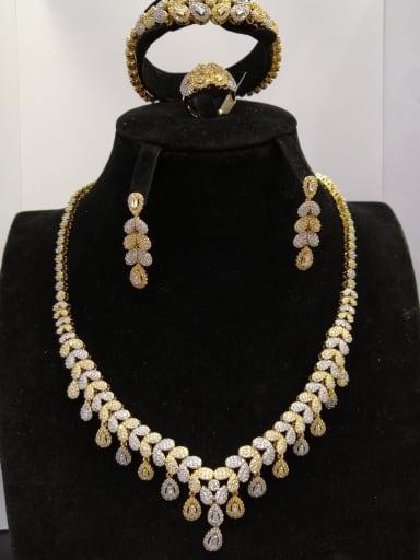 GODKI Luxury Women Wedding Dubai Copper With MIX Plated Fashion Water Drop 4 Piece Jewelry Set