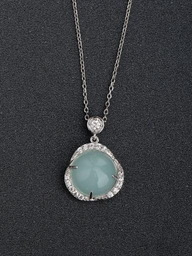 custom Micro inlay Zircon Light green Semi precious stone 925 Silver Necklaces
