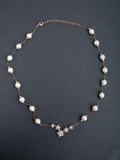 custom Imitation pearls Beaded 925 Silver Necklaces