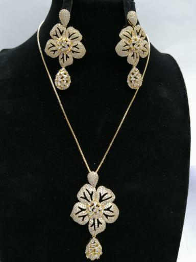 GODKI Luxury Women Wedding Dubai Copper With Gold Plated Trendy Flower 2 Piece Jewelry Set