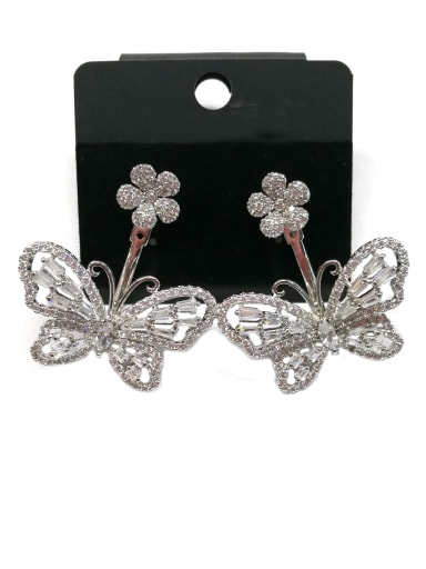 Copper With White Gold Plated Fashion Butterfly Earrings