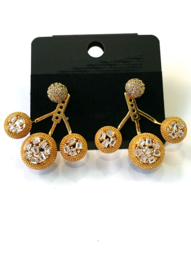 Copper With White Gold Plated Fashion Round Earrings
