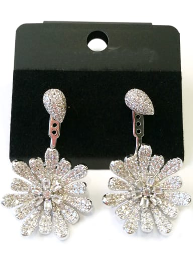 Copper With White Gold Plated Fashion Flower Earrings