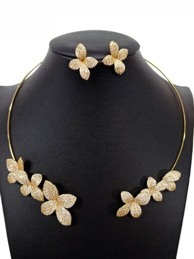 Copper With White Gold Plated Trendy Flower Jewelry Sets