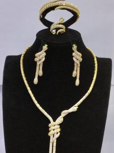 GODKI Luxury Women Wedding Dubai Copper With Gold Plated Fashion Animal 4 Piece Jewelry Set