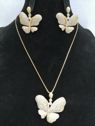 GODKI Luxury Women Wedding Dubai Copper With Gold Plated Fashion Butterfly 2 Piece Jewelry Set