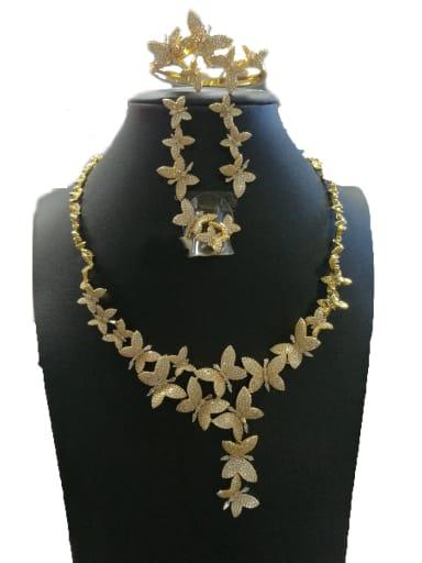 GODKI Luxury Women Wedding Dubai Copper With Gold Plated Fashion Butterfly 4 Piece Jewelry Set