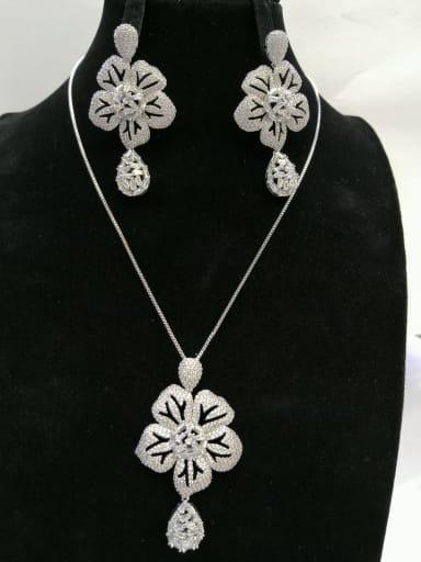 GODKI Luxury Women Wedding Dubai Copper With White Gold Plated Trendy Flower 2 Piece Jewelry Set