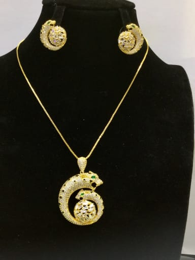 Copper With Gold Plated Fashion Animal 2 Piece Jewelry Set