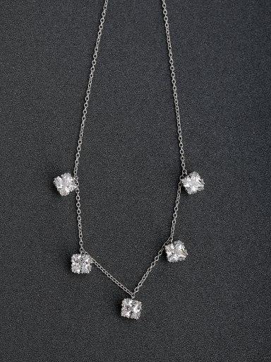 custom Micro inlay Zircon Beaded Three-dimensional zircon 925 Silver Necklaces
